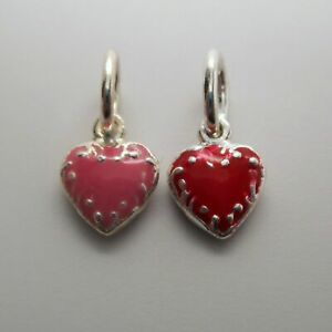 Sterling-Silver-ENAMEL-Red-or-Pink-TINY-HEART-Charm-for-Bracelet-PUFFY-Pendant