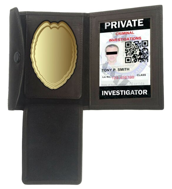 Officer Shield Badge Holder Mens Leather Wallet Concealed Carry Weapon ID Case