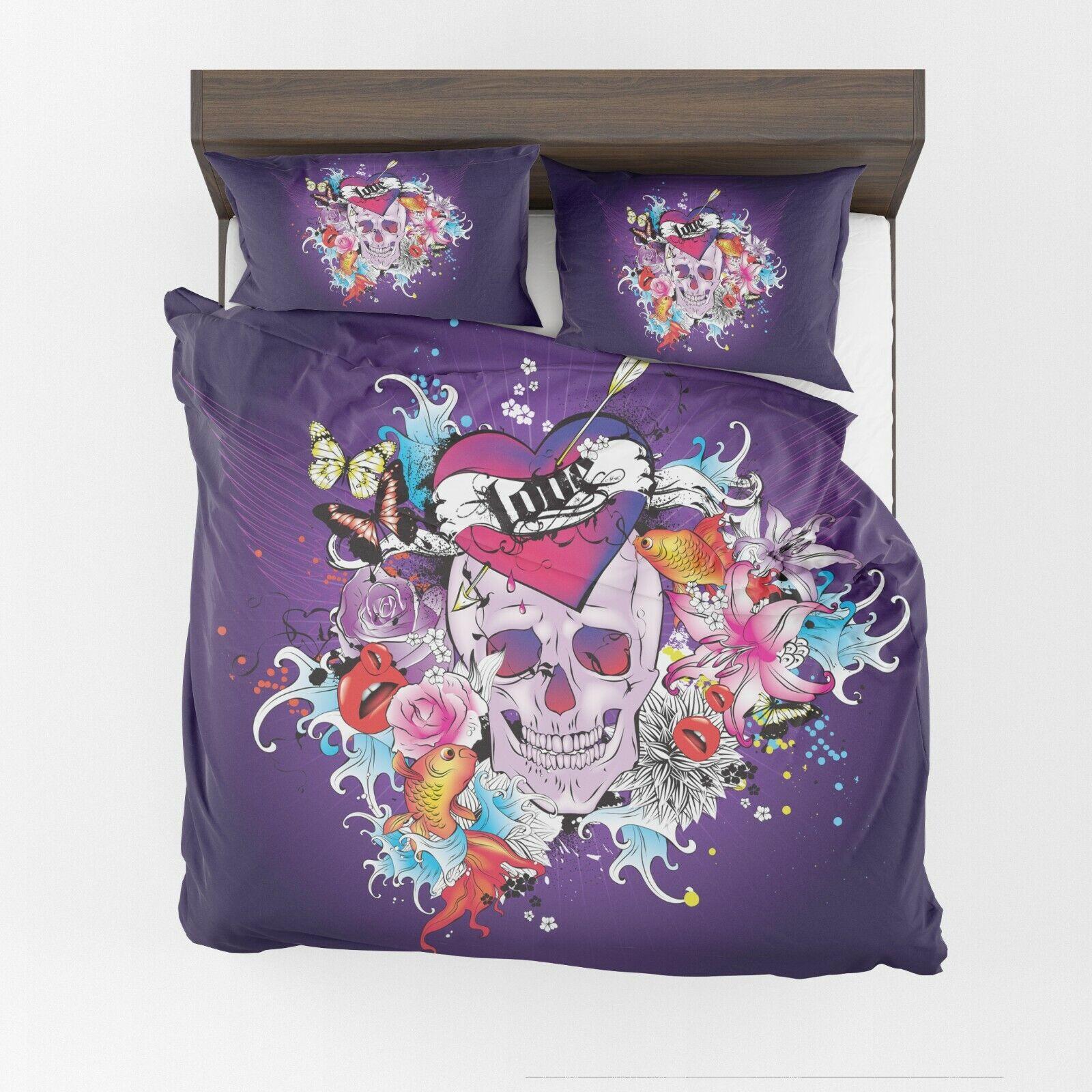 Skulls Duvet Cover or Comforter lila bedding twin Queen King skulls bedroom
