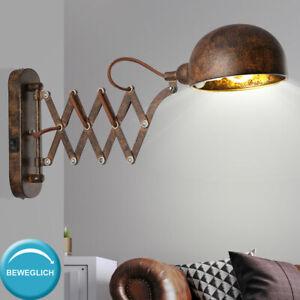 LED Wand Leuchte rost VINTAGE Spot beweglich Gäste Zimmer Strahler Lampe gold