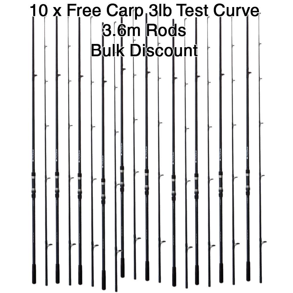 WHOLESALE JOB LOT DE 10x Free Carp test 3 Lb (environ 1.36 kg) courbe 12 ft (environ 3.66 m) 3.6 m 2pc canne à pêche