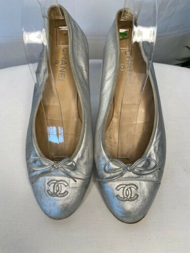 Chanel Leather Ballet Flats Sparkle SILVER Cap Toe