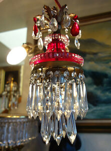 Vintage ruby Lady cupcake glass crystal Brass SWAG lamp chandelier light room