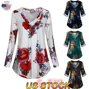 Women-039-s-Long-Sleeve-Casual-V-Neck-Tops-Loose-Floral-Print-Blouse-Tee-T-Shirt-US