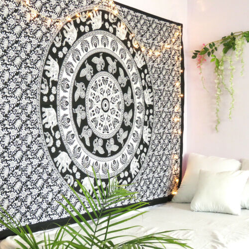 Indian Tapestry Mandala Wall Black /& White Hanging Hippie Decor Twin Bedspread