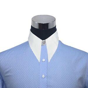 Pointe Col Vintage Chemise Pour Hommes Bleu Blanche Carreaux Années 1930 PréVenir Et GuéRir Les Maladies