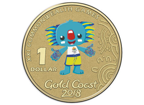 2018 UNC $1 Gold Coast Commonwealth Games Borobi Coloured Frosted Coin on Card