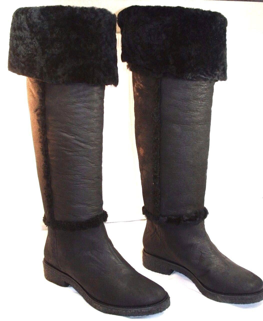 Diane Von Negro Furstenberg  Adele  Negro Von botas De Cuero de Piel de Oveja 7.5 neimanmarcus  675 dd6a63