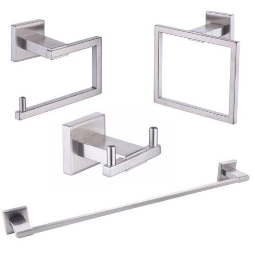 4-Piece Bathroom Accessory Towel Bar Toilet Paper Holder Towel Ring Hook Mount
