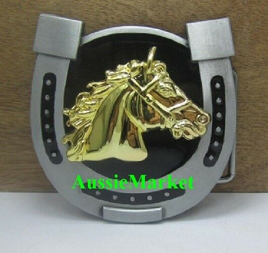 1 x mens ladies belt buckle horse shoe jeans gold black metal birthday gift new