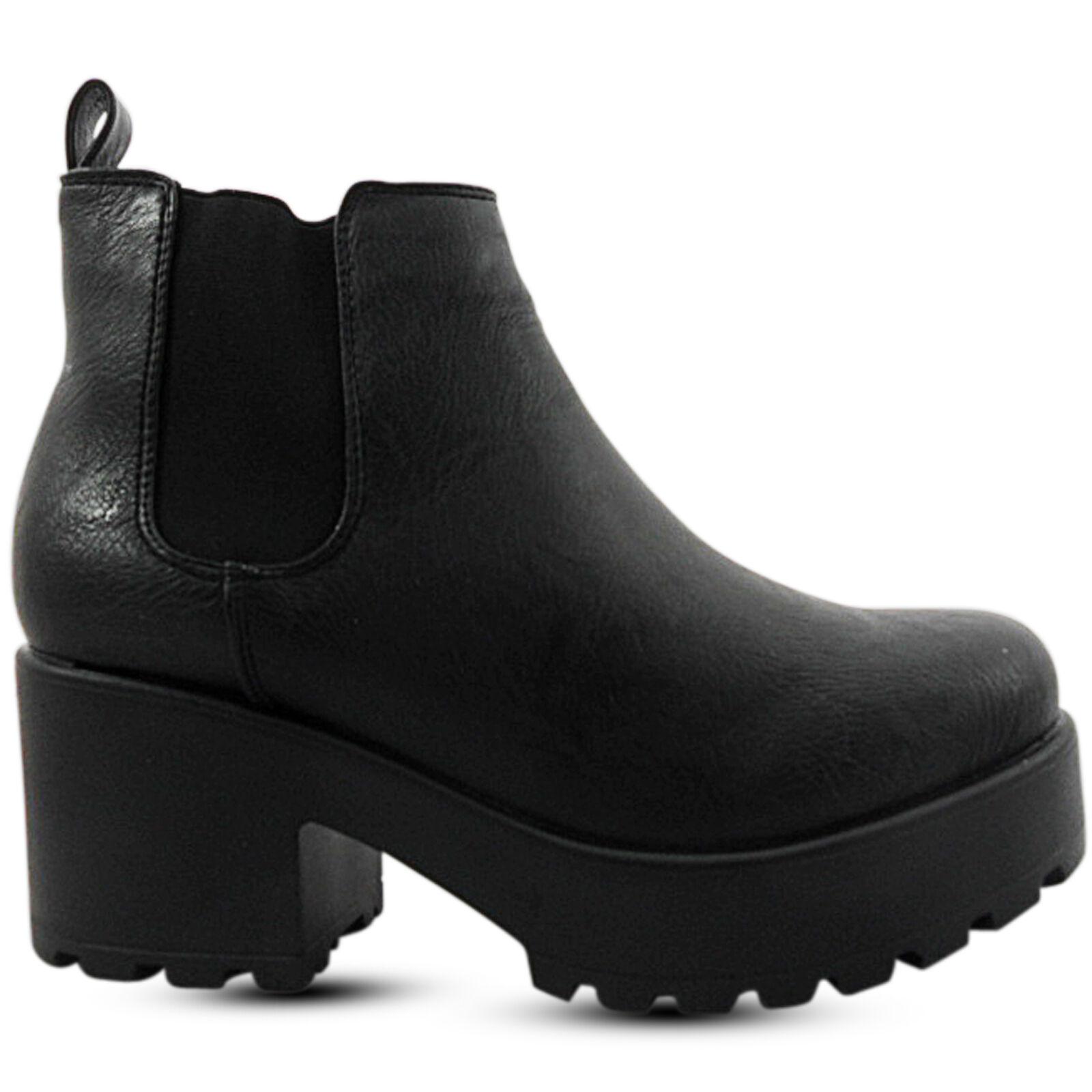 Grandes zapatos con descuento Mujer Tacón Medio Bajo gruesa con tacos Plataforma Botines Chelsea Talla