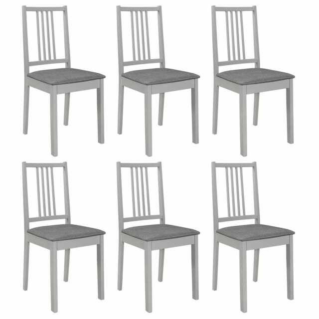 Vidaxl 6x legno massello di Hevea sedie da pranzo con Cuscini bianche grigie
