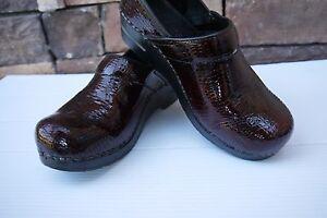 Sanita-Women-039-s-Professional-Croco-Bordeaux-Patent-Leather-EU-38-US-7-5-8-WOW