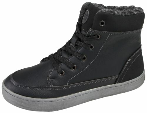 Fleece Lined Hi Tops Ankle BOOTS Trainers Womens Boys Girls Warm Winter  Lace UPS Black UK 10 Infant 1668503f66