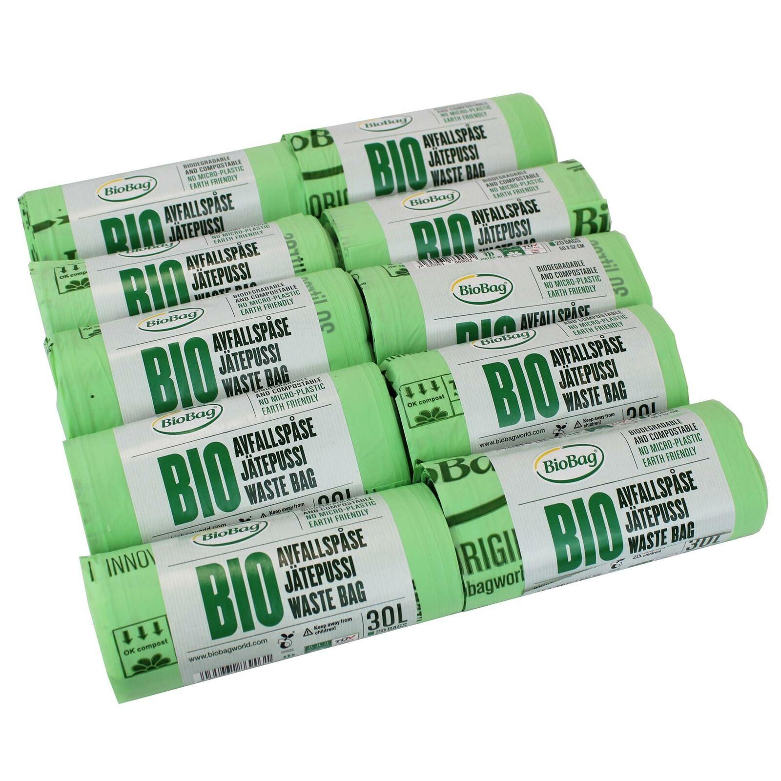 200 x 30L Biobag Compostable Bags for Indoor Bins or Kerbside Food Waste Bins