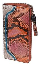 New Gucci Women's 307984 Ombre Python Snakeskin Bamboo Pull Zip Around Wallet