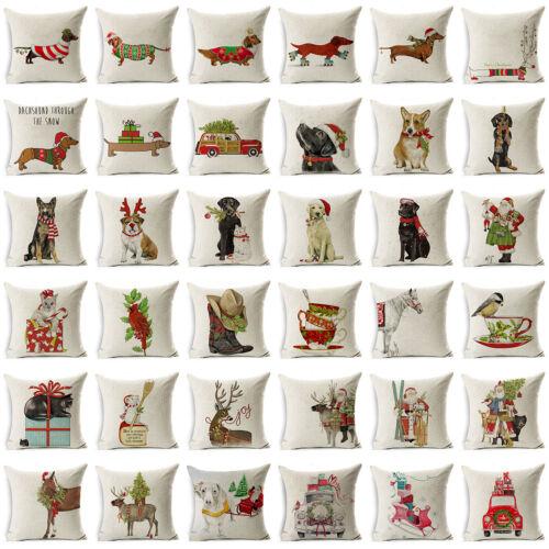 """18/"""" Xmas Dog Cotton Linen Pillow Case Sofa Cushion Cover Throw Home Decor Gift"""