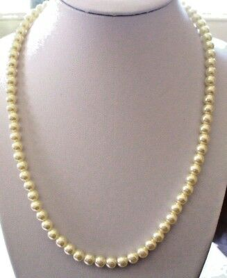 Inteligente Beau Collier Perles Fantaisies Nacrées Fermoir Couleur Or Bijou Vintage 3454