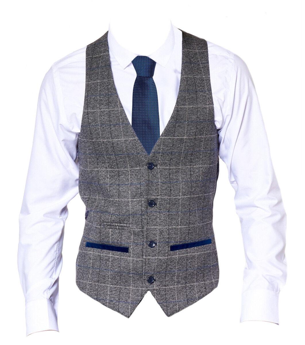 Hombre Marc Darcy Tweed Pata de Gallo Elegante Chaleco a Cuadros Lente Scott -