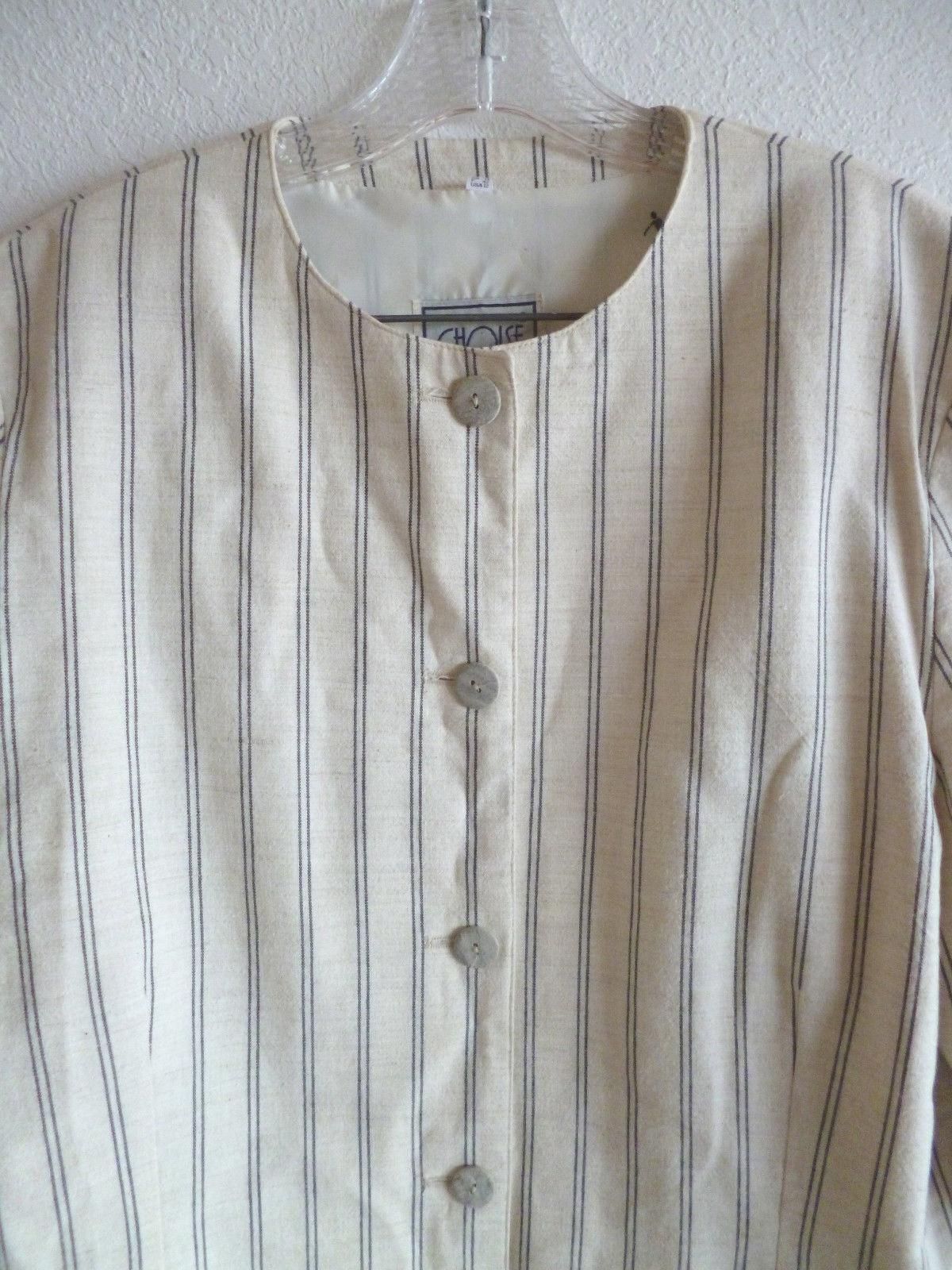 Choise Summer Pin Stripe Skirt Suit  Made in Denmark Crm Navy Linen Blend  12