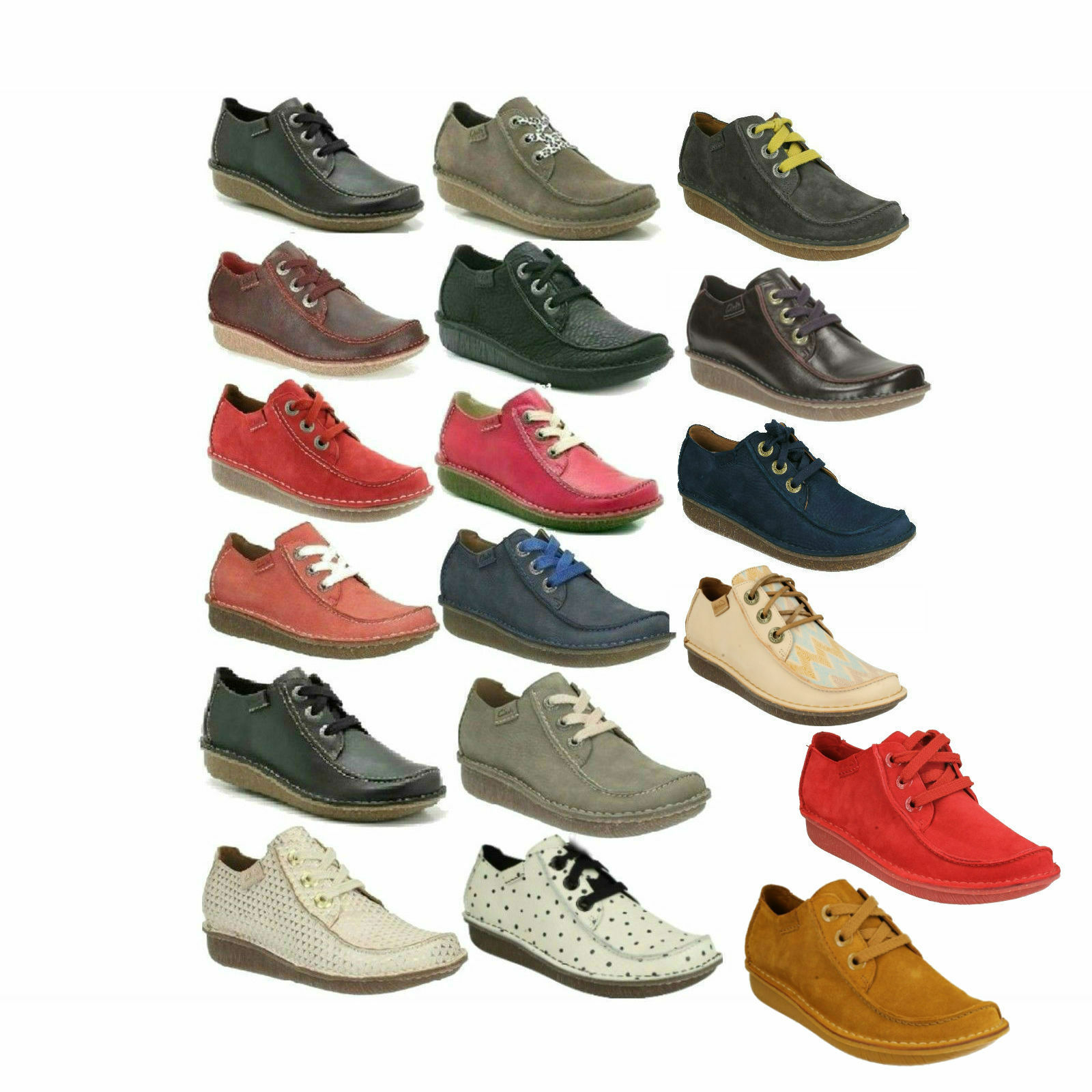 Damen Clarks Schnürsenkel Leder Freizeit Flache Größe Hose Schuhe