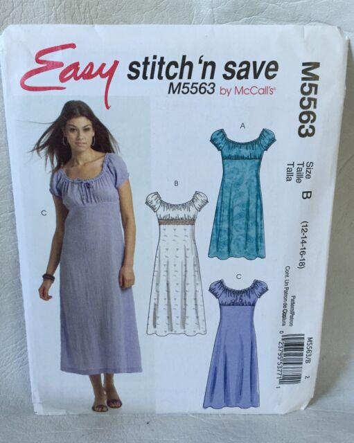 51d22431d5e McCall s M5563 Stitch  n Save Misses dress sewing pattern size 12 14 16 18  UNCUT