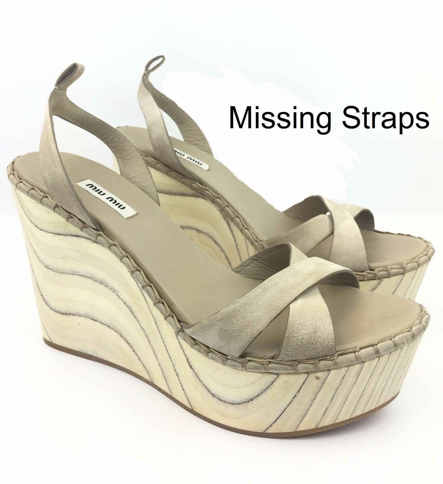 MIU MIU Criss Cross Suede/Wood Platform Wedges Sandals sz: US 10 | 40 -  750