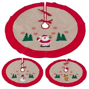 90cm Brown Cloth Christmas Characters Tree Skirt Cover Floor Base Decoration Pad
