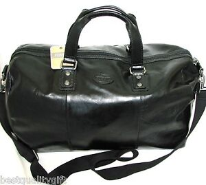 Image Is Loading New Fossil Black Leather Canvas Transit Duffle Bag