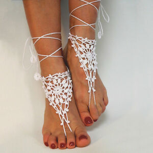 3397dc09c Image is loading IM-Cotton-Knit-Crochet-Barefoot-Sandals-Beach-Anklet-