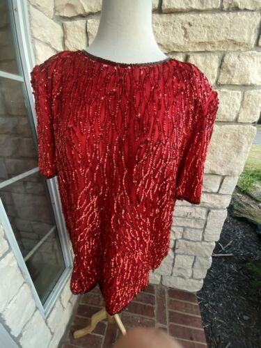 Jewel Queen Blouse Red Size Xl
