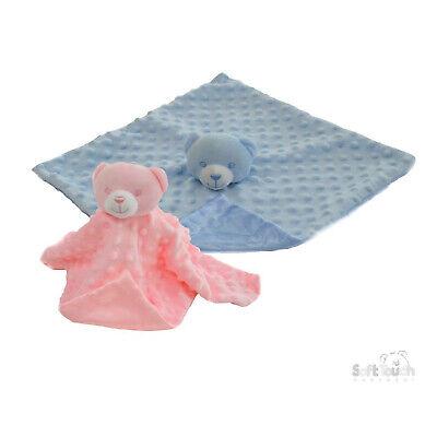 Baby Boys Girls Soft Touch Teddy Bear Comforter Blanket Soft Tag Velour /& Satin