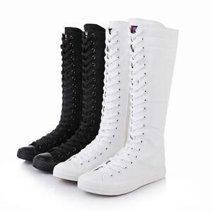 Hasta-la-Rodilla-Zapatillas-Punk-Lona-Pantorrilla-Zapatos-Moda-Comodo