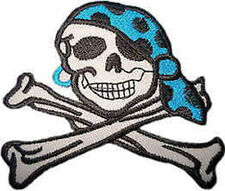 Iron On/ Sew On Embroidered Patch Badge Skull Crossed Bones Bandana Rebel Pirate