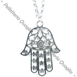 Collana-Catena-Lunga-Regolabile-Ciondolo-Argento-Tibetano-Mano-Di-Fatima-Amuleto
