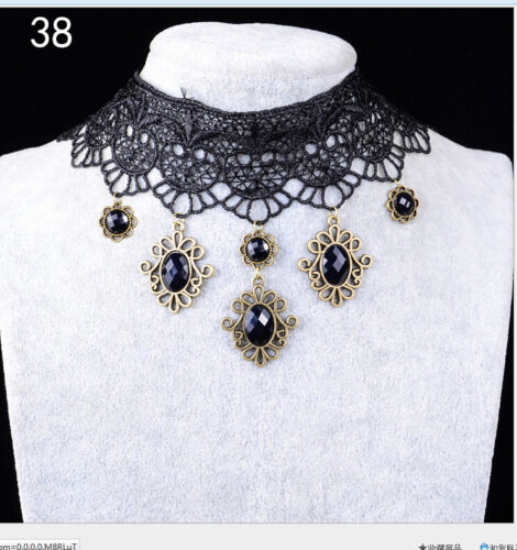 WOMEN GOTHIC NECK BURLESQUE LACE VICTORIAN CHOKER STEAMPUNK NECKLACE Gift FG