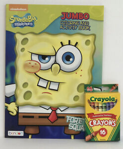 Sponge-Bob-Square-Pants-Jumbo-Coloring-amp-Activity-Book-16-Crayons-Kids-Book