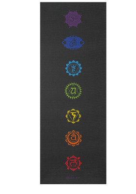 Gaiam Premium Print Yoga Mat 68 X24 5 6mm Thick Black Chakra Mats Pilates Ebay