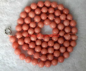 New-Natural-8mm-10mm-Pink-Morganit-Round-Beads-Gemstone-Necklace-Long-36-039-039
