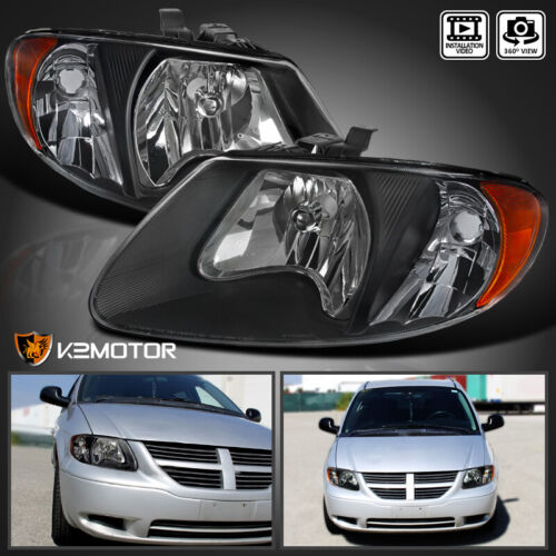 2001-2007 Dodge Caravan Chrysler Town & Country Black Replacement Headlight Pair