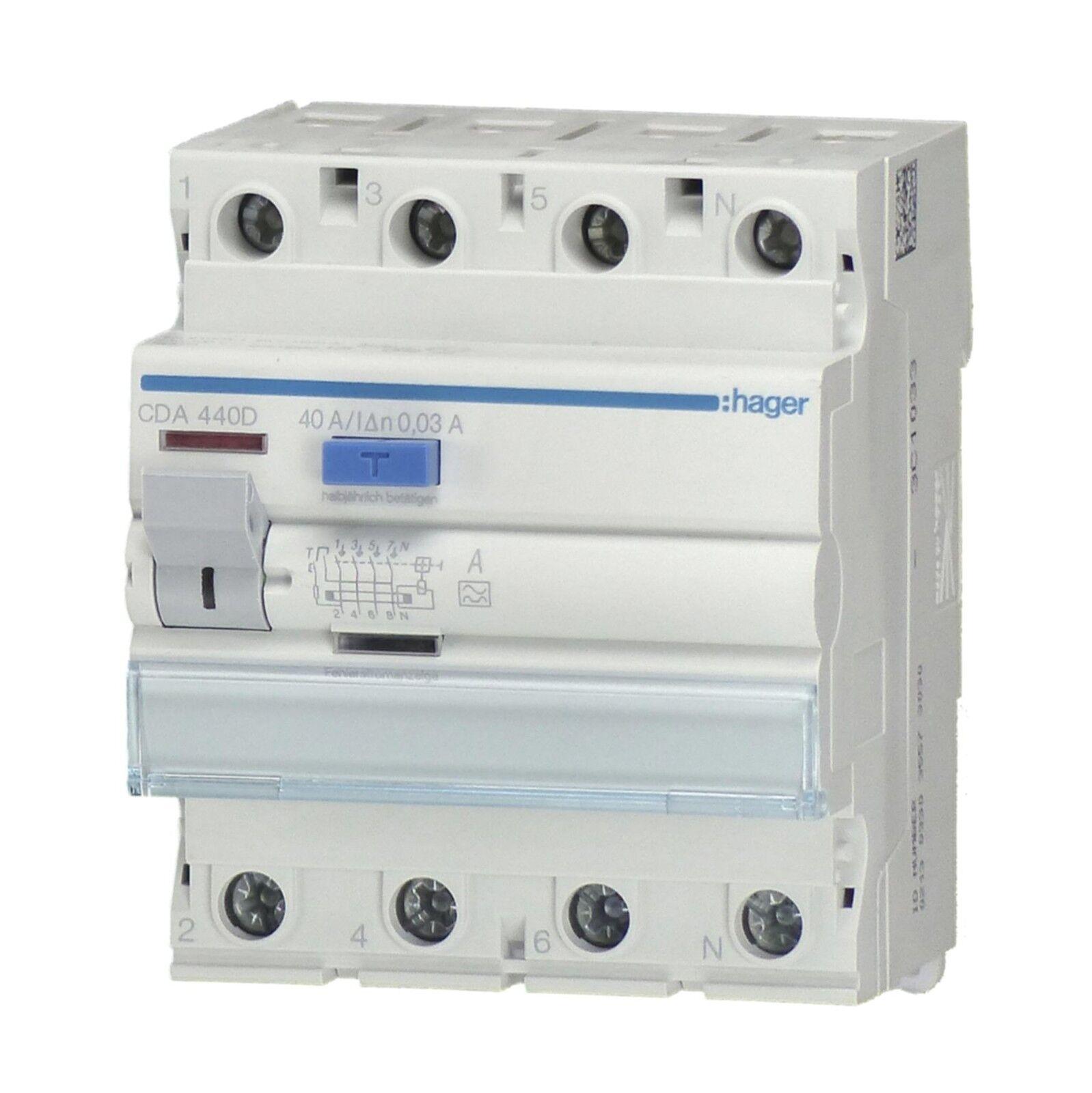Hager Fi-Schutzschalter CDA440D 4-polig 40 0,03 Ampere | Verschiedene Arten und Stile
