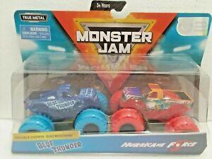 Blue-Thunder-amp-Hurricane-Force-2019-Spin-Master-Monster-Jam-1-64-Scale-Trucks
