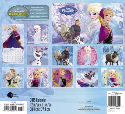 FROZEN 2015 Disney Full Size Wall Calendar Elsa Anna Kristoff Olaf Sven Poster