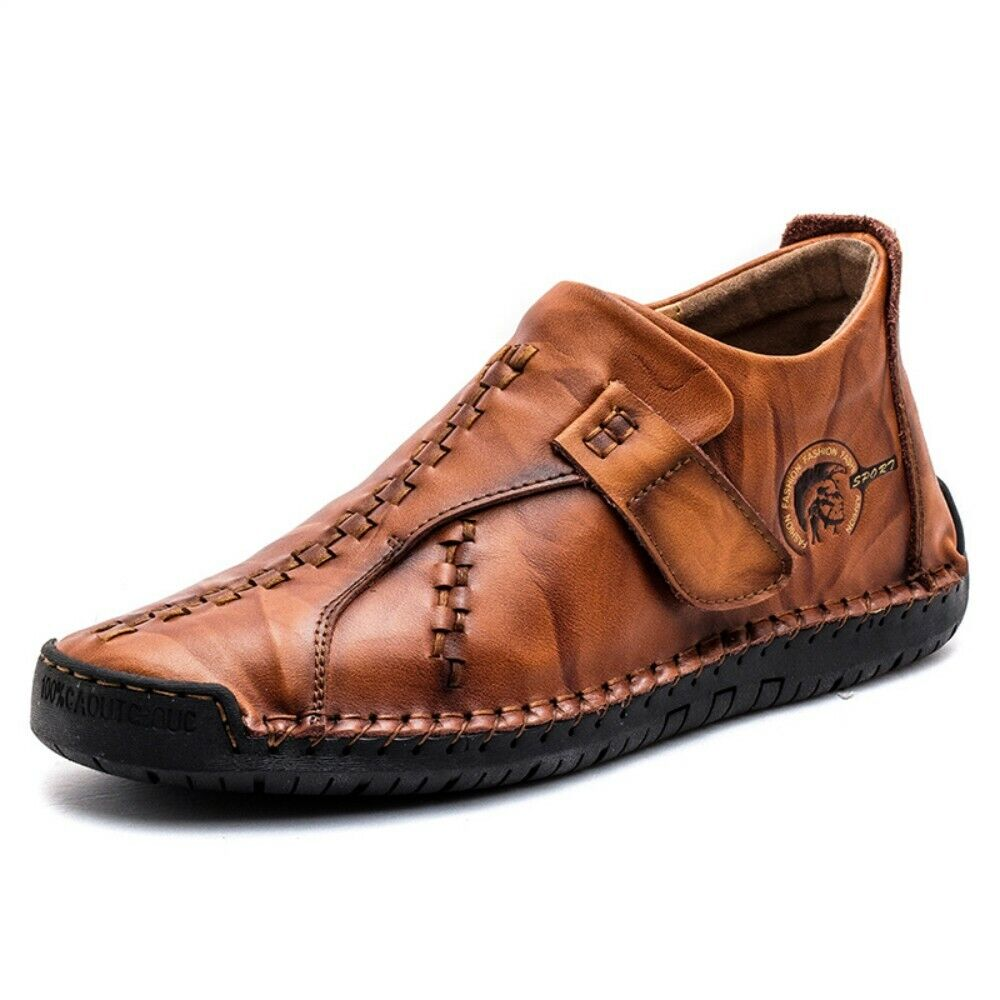 Mens Hook&loop Flats Leather shoes Loafers High Top moccasin-gommino shoes size