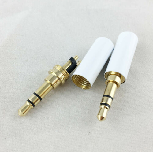10pcs White 3.5mm Male 3 Pole Stereo Repair Audio Earphones TRS Connector Solder