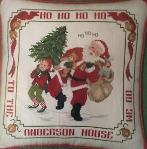 Jolly Santa Pillow Sham Cross Stitch Kit Needle Maid Unopened Ebay