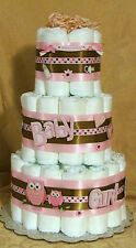 3 Tier Diaper Cake Tweet Pink Owl In The Woods Baby Shower Centerpiece Love Bird