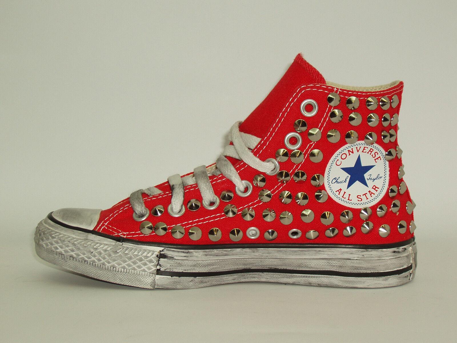 Converse all star Hi rosso,nero,grigio,blu borchie scarpe donna uomo rosso,nero,grigio,blu Hi artigianali b88ac3