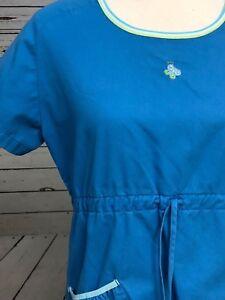 Koi-Kathy-Peterson-Womens-Nurse-Scrub-Uniform-Top-Small-Butterfly-Smock-Blue-S-S