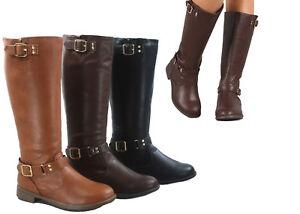 NEW-Women-039-s-Round-Toe-Zip-Buckle-Low-Heel-Mid-Calf-Riding-Boots-Size-5-5-10